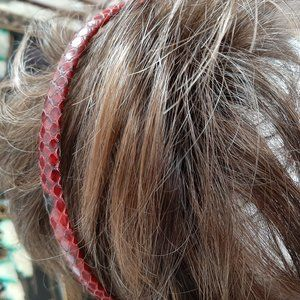 New Red Snakes skin Leather Headband